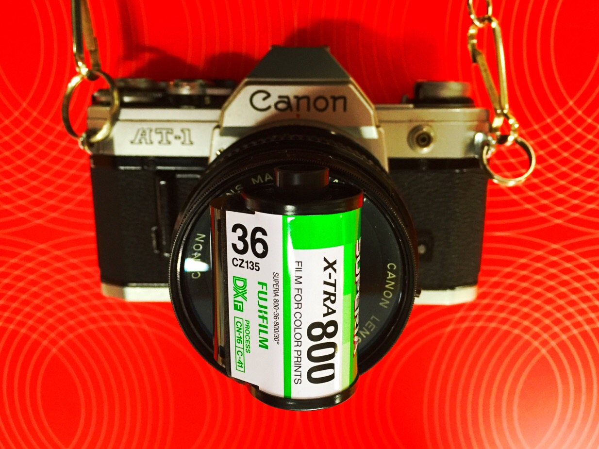 My Canon AT-1 and a roll of FujiFilm X-tra 800, used for shooting RedScale.