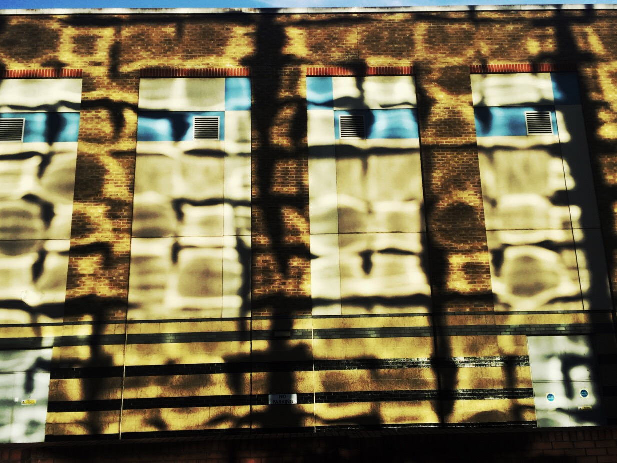 A glass building reflects onto the brickwork of it's neighbour. Evening sun.