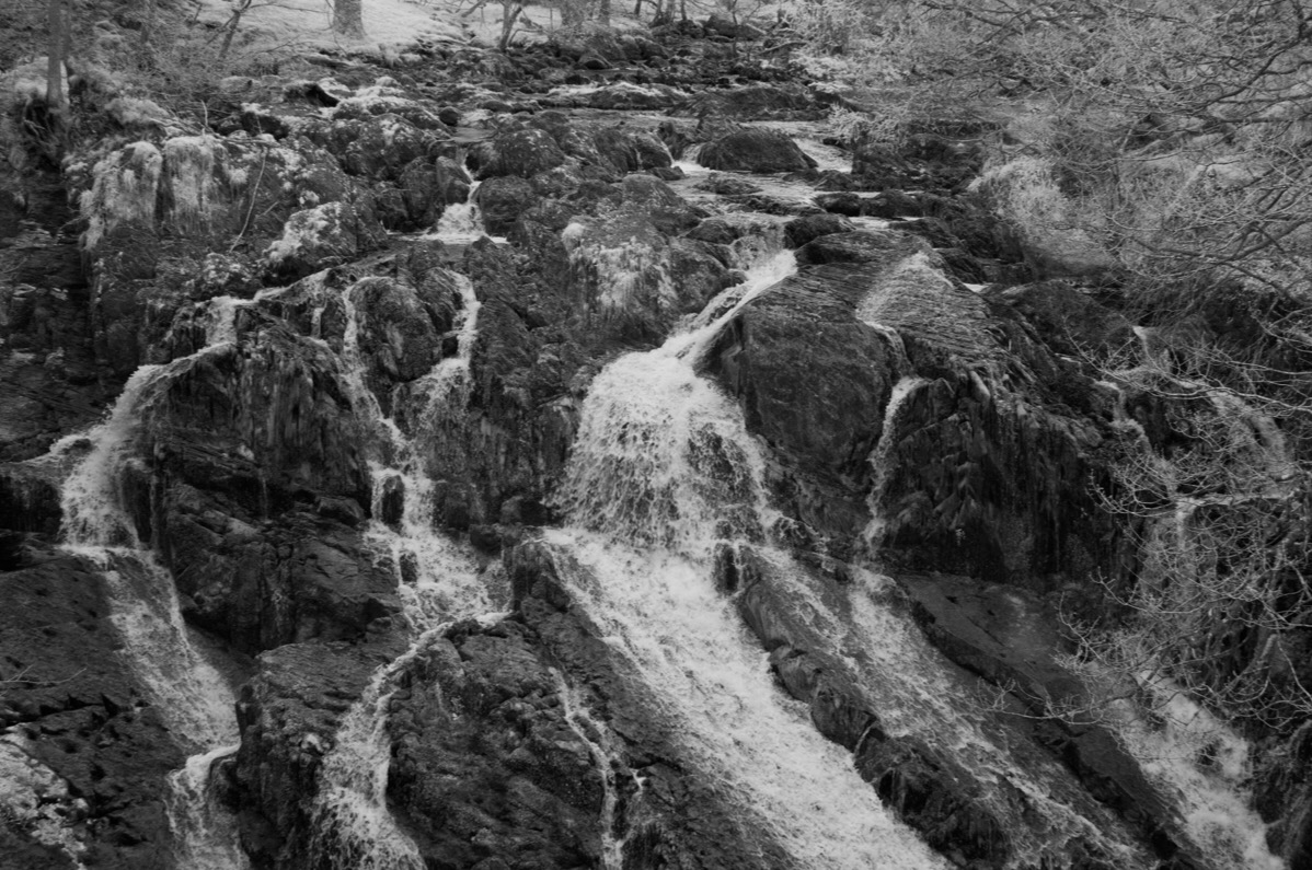 Swallow Falls, Snowdonia. Taken with a Nikon D90 converted to Infrared at 720nm.