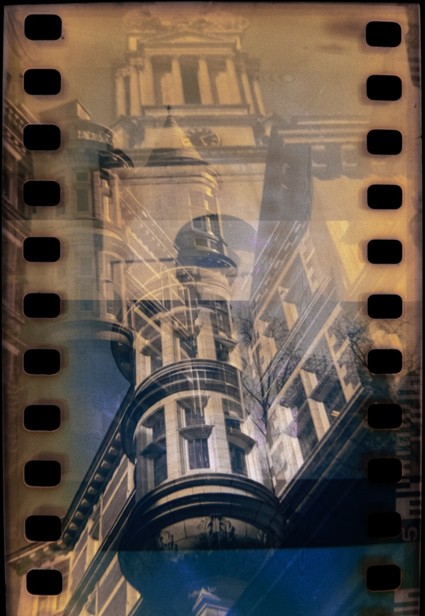 Sicilian Avenue and St George's Bloomsbury, Billora Bella 44 double exposure.