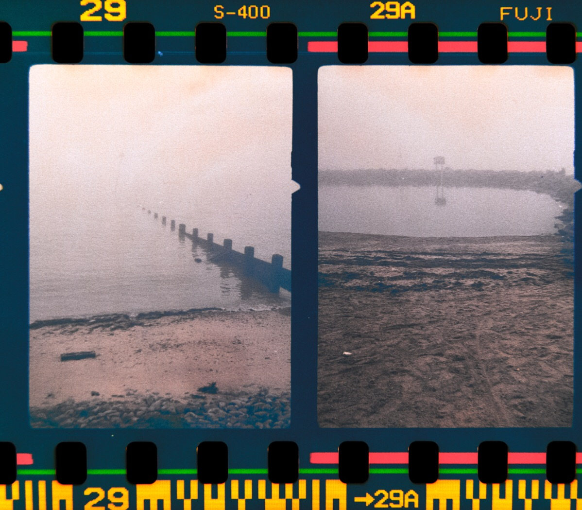 Foggy sea front at Southend-On-Sea, shot with an Agfa Paramat half frame 35mm camera.