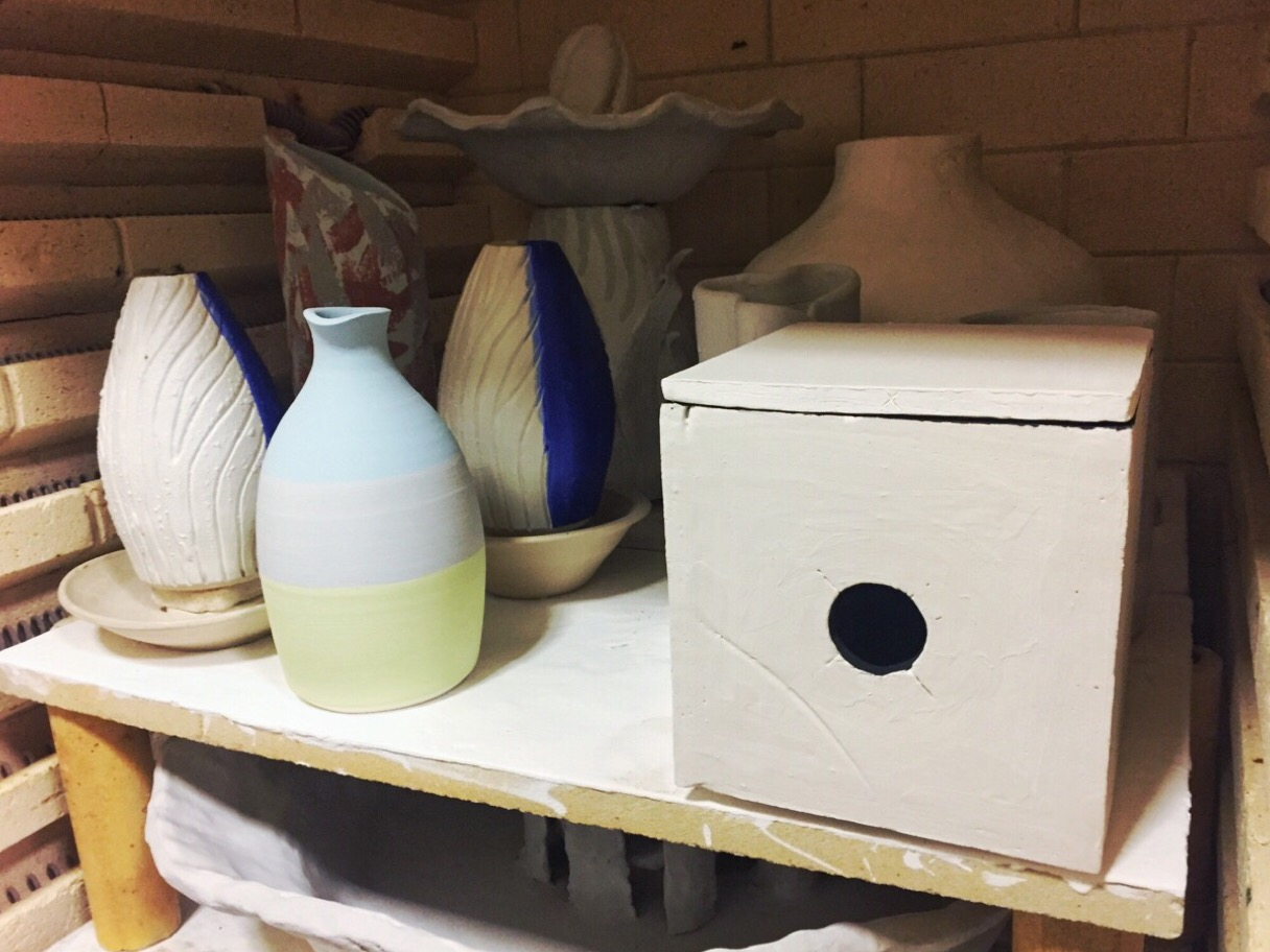The glaze has dried and Ceramic Pinhole Mk I is in the kiln.