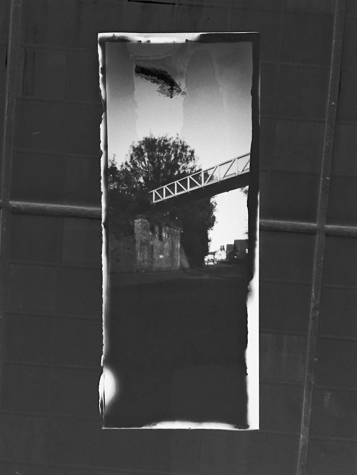 Pinhole camera image of the Flitch Way Bridge. Paper negative.