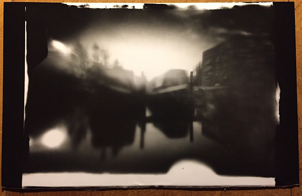 Foamcore Pinhole Camera image of two canal boats.