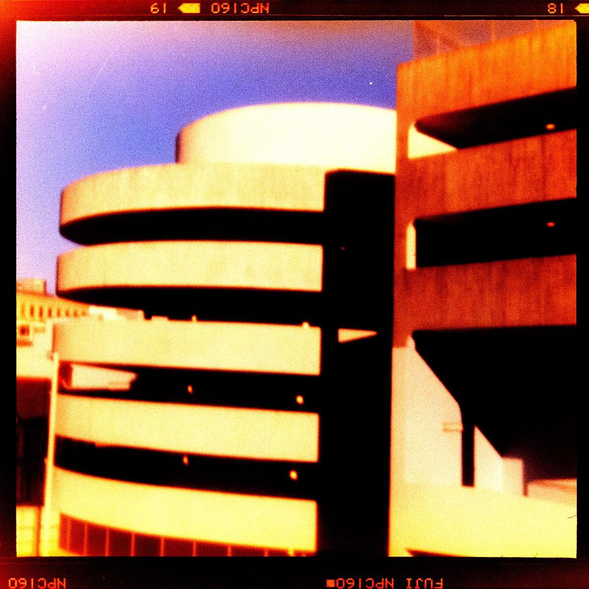 Concrete Brutalism, car park spiral in pinhole.