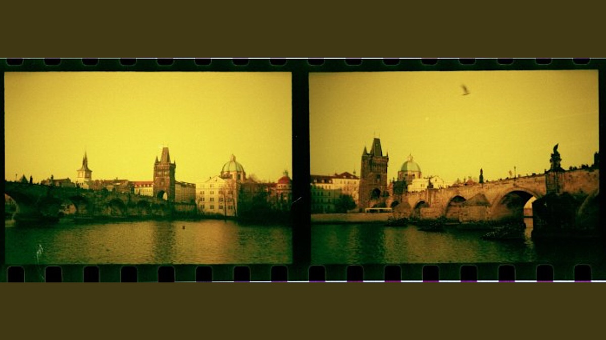 Charles Bridge, Prague, in Redscale.