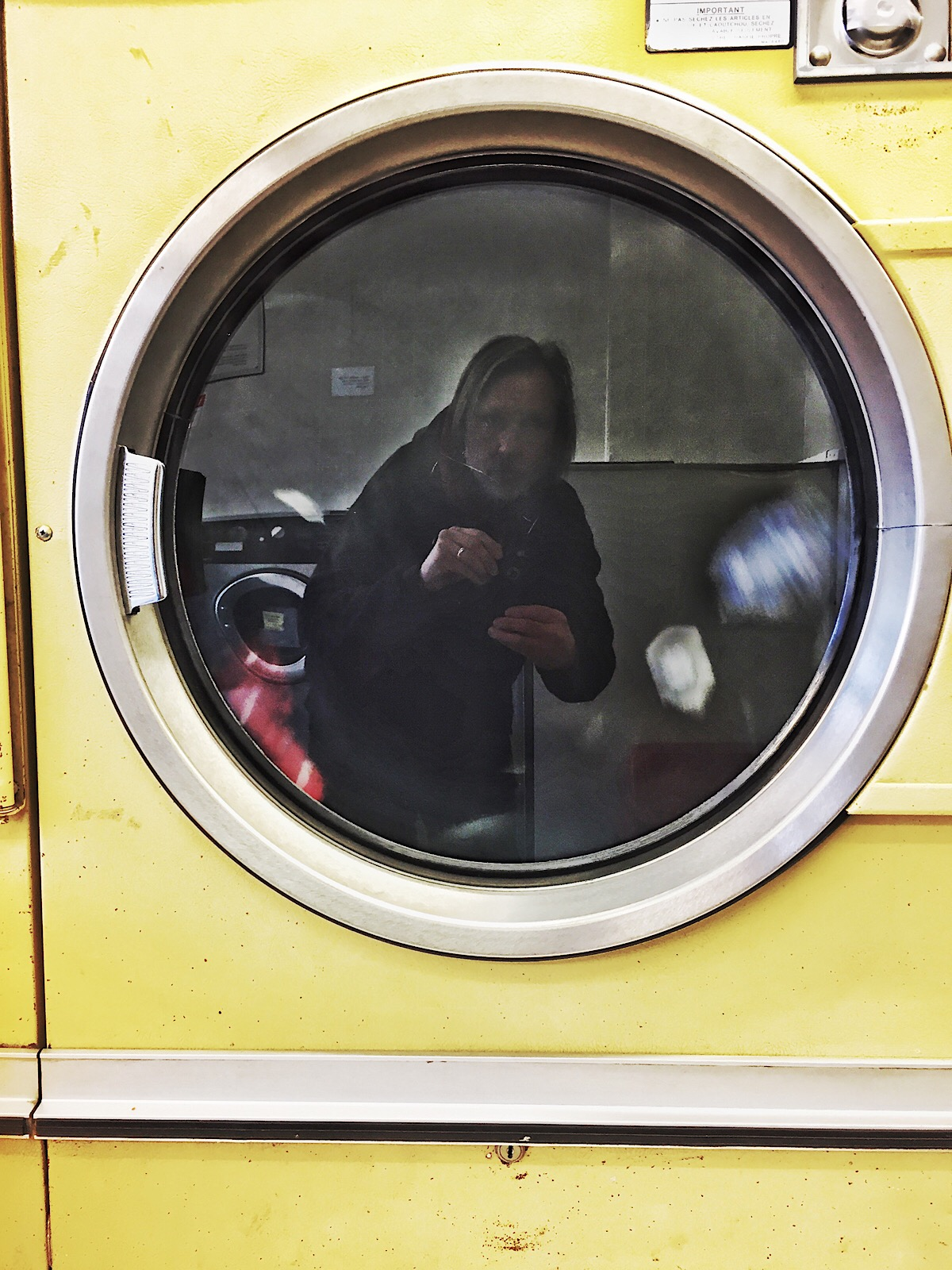 iPhone6 self portrait in the tumble dryer.